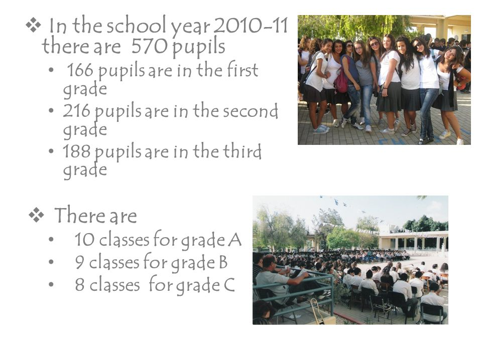  In the school year 2010-11 there are 570 pupils 166 pupils are in the first grade 216 pupils are in the second grade 188 pupils are in the third gra