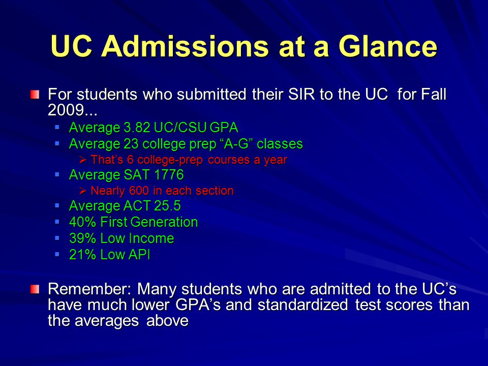"UC Admissions at a Glance For students who submitted their SIR to the UC for Fall 2009...  Average 3.82 UC/CSU GPA  Average 23 college prep ""A-G"" cl"