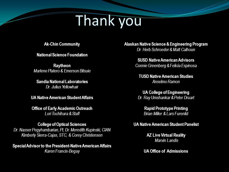Ak-Chin Community National Science Foundation Raytheon Marlene Platero & Emerson Bitsuie Sandia National Laboratories Dr.