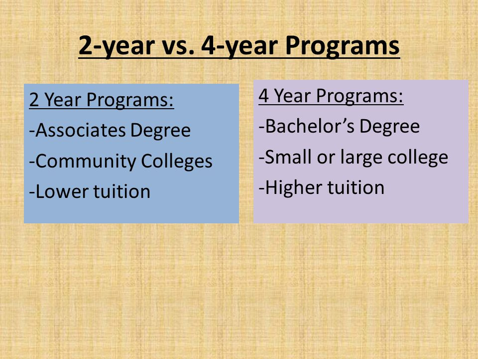 2-year vs. 4-year Programs 2 Year Programs: -Associates Degree -Community Colleges -Lower tuition 4 Year Programs: -Bachelor's Degree -Small or large