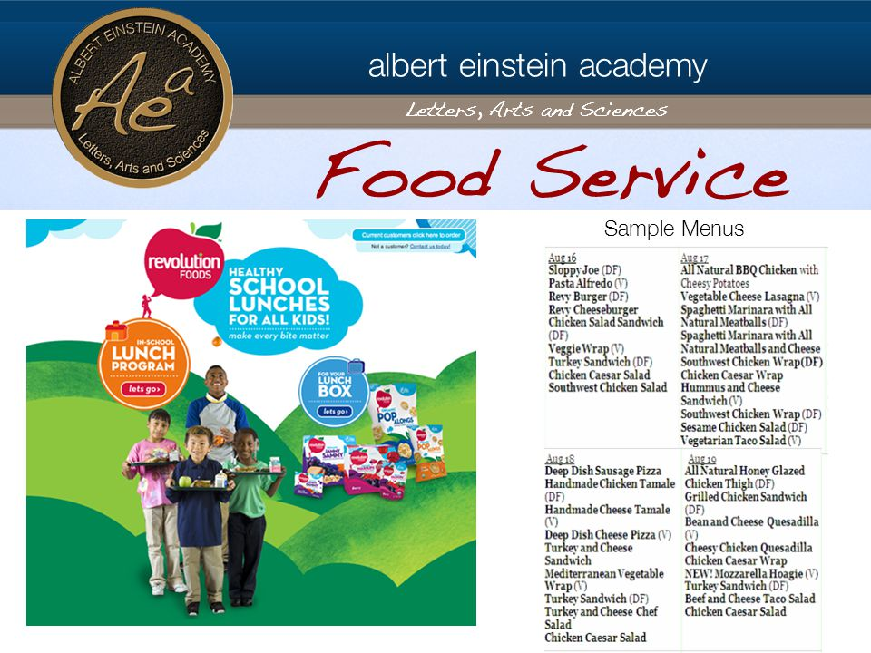 albert einstein academy Letters, Arts and Sciences Food Service Sample Menus
