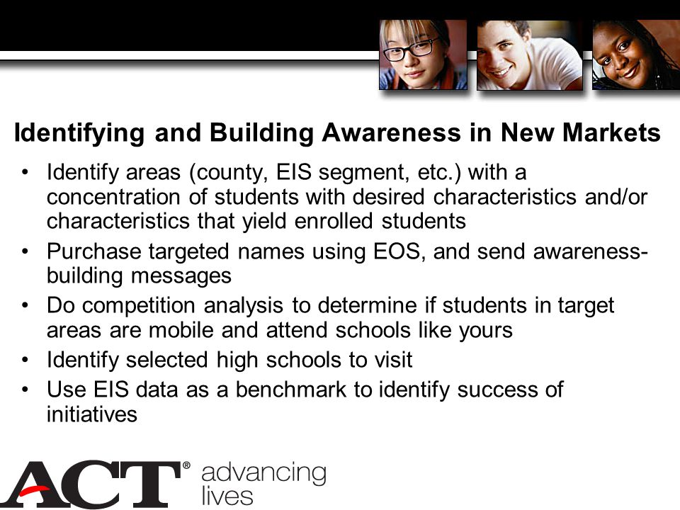 Identifying and Building Awareness in New Markets Identify areas (county, EIS segment, etc.) with a concentration of students with desired characteristics and/or characteristics that yield enrolled students Purchase targeted names using EOS, and send awareness- building messages Do competition analysis to determine if students in target areas are mobile and attend schools like yours Identify selected high schools to visit Use EIS data as a benchmark to identify success of initiatives