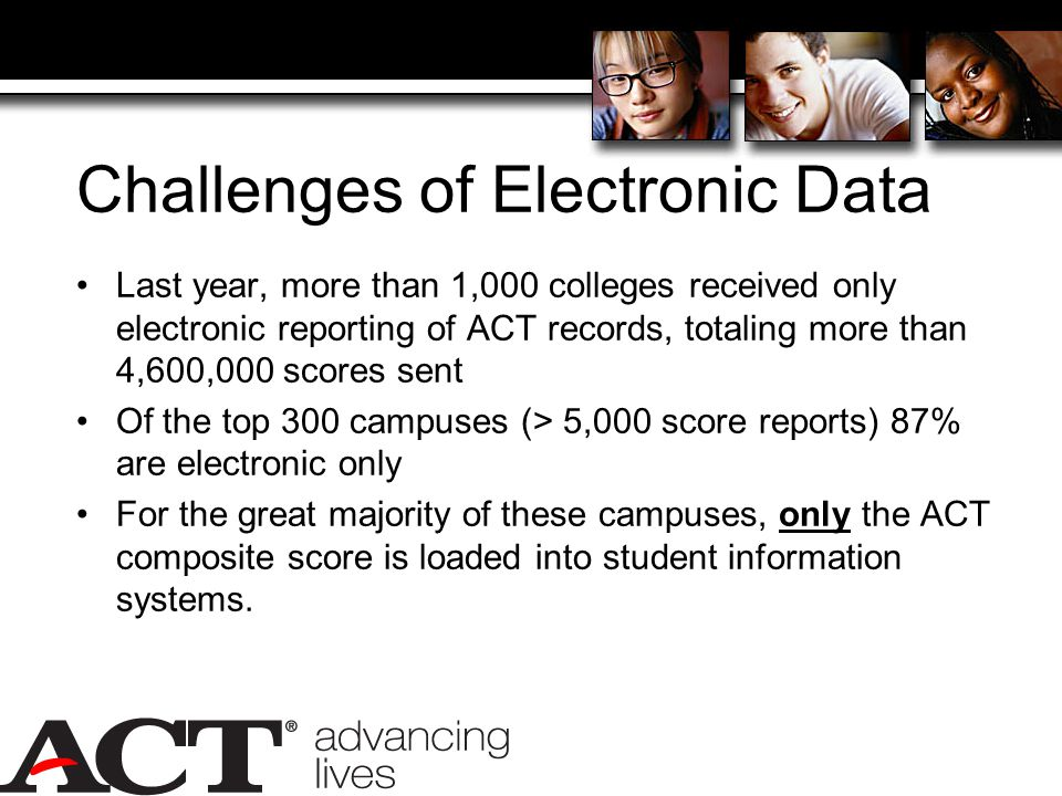 Challenges of Electronic Data Last year, more than 1,000 colleges received only electronic reporting of ACT records, totaling more than 4,600,000 scores sent Of the top 300 campuses (> 5,000 score reports) 87% are electronic only For the great majority of these campuses, only the ACT composite score is loaded into student information systems.