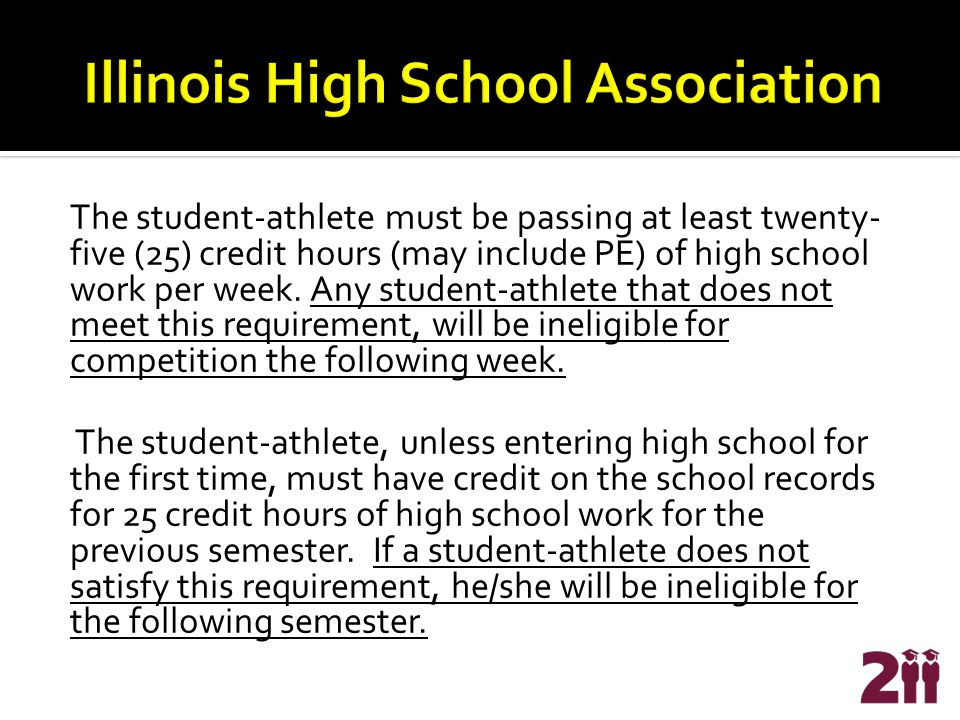 The student-athlete must be passing at least twenty- five (25) credit hours (may include PE) of high school work per week.