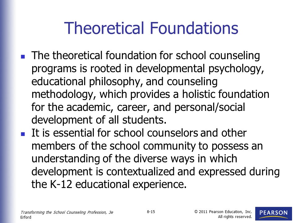 Transforming the School Counseling Profession, 3e Erford © 2011 Pearson Education, Inc. All rights reserved. 8-15 Theoretical Foundations The theoreti