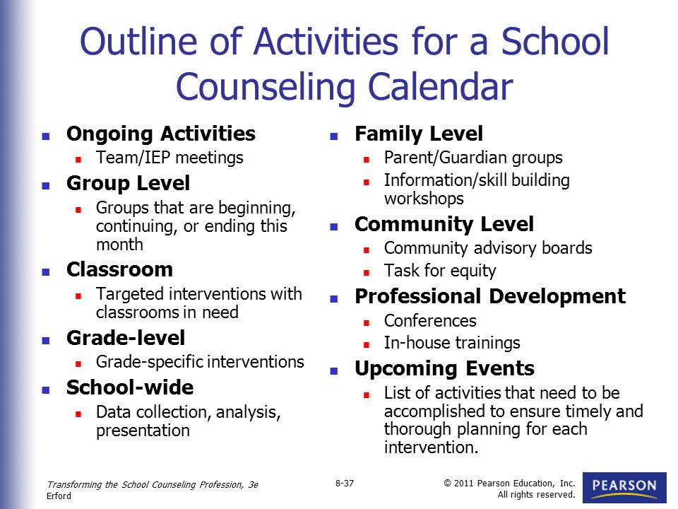 Transforming the School Counseling Profession, 3e Erford © 2011 Pearson Education, Inc. All rights reserved. 8-37 Outline of Activities for a School C