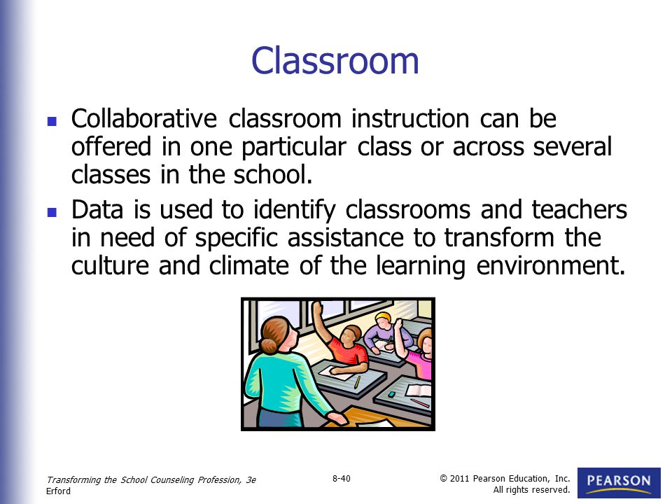 Transforming the School Counseling Profession, 3e Erford © 2011 Pearson Education, Inc. All rights reserved. 8-40 Classroom Collaborative classroom in