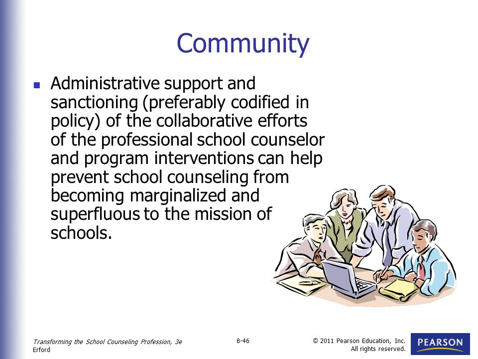 Transforming the School Counseling Profession, 3e Erford © 2011 Pearson Education, Inc. All rights reserved. 8-46 Community Administrative support and