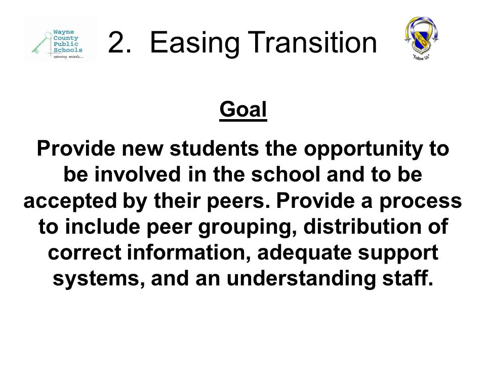 Goal Provide new students the opportunity to be involved in the school and to be accepted by their peers.