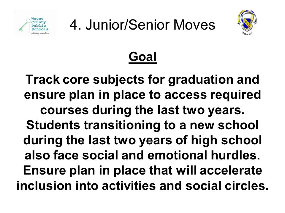 Goal Track core subjects for graduation and ensure plan in place to access required courses during the last two years.