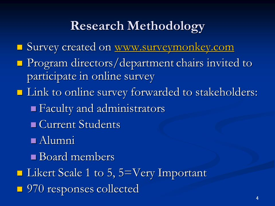 4 Research Methodology Survey created on www.surveymonkey.com Survey created on www.surveymonkey.comwww.surveymonkey.com Program directors/department chairs invited to participate in online survey Program directors/department chairs invited to participate in online survey Link to online survey forwarded to stakeholders: Link to online survey forwarded to stakeholders: Faculty and administrators Faculty and administrators Current Students Current Students Alumni Alumni Board members Board members Likert Scale 1 to 5, 5=Very Important Likert Scale 1 to 5, 5=Very Important 970 responses collected 970 responses collected