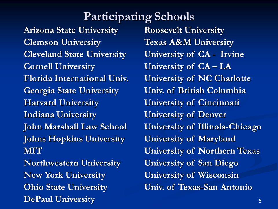 5 Participating Schools Arizona State University Roosevelt University Clemson University Texas A&M University Cleveland State University University of
