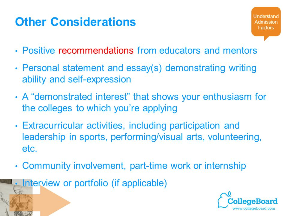 Other Considerations Positive recommendations from educators and mentors Personal statement and essay(s) demonstrating writing ability and self-expression A demonstrated interest that shows your enthusiasm for the colleges to which you're applying Extracurricular activities, including participation and leadership in sports, performing/visual arts, volunteering, etc.