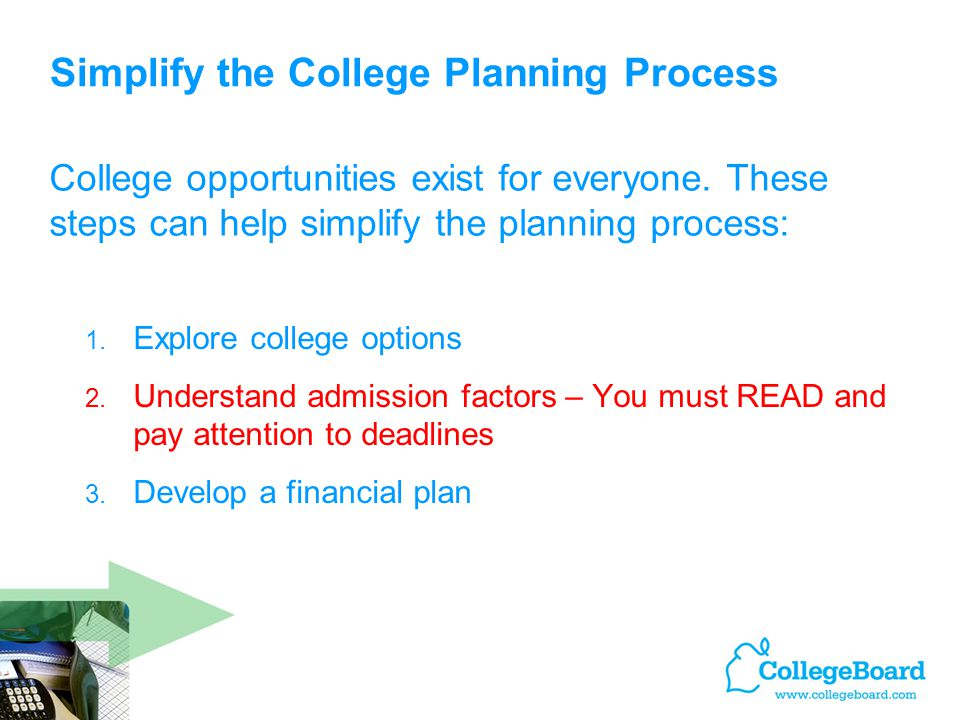 Simplify the College Planning Process 1. Explore college options 2.