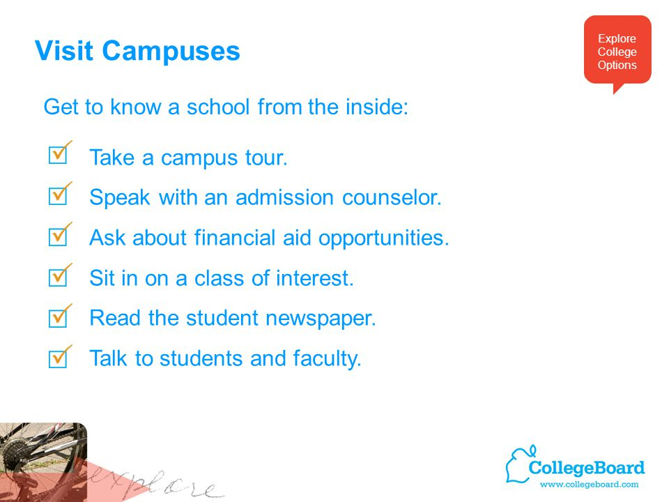 Visit Campuses Take a campus tour. Speak with an admission counselor.