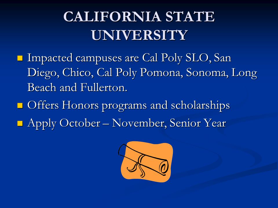 CALIFORNIA STATE UNIVERSITY Impacted campuses are Cal Poly SLO, San Diego, Chico, Cal Poly Pomona, Sonoma, Long Beach and Fullerton.