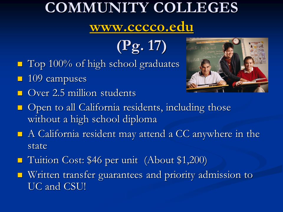 COMMUNITY COLLEGES www.cccco.edu (Pg.