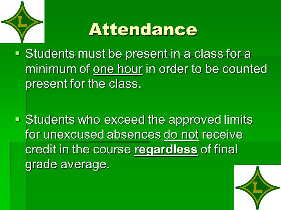 Attendance  Students must be present in a class for a minimum of one hour in order to be counted present for the class.