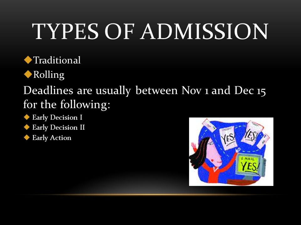 TYPES OF ADMISSION  Traditional  Rolling Deadlines are usually between Nov 1 and Dec 15 for the following:  Early Decision I  Early Decision II  Early Action