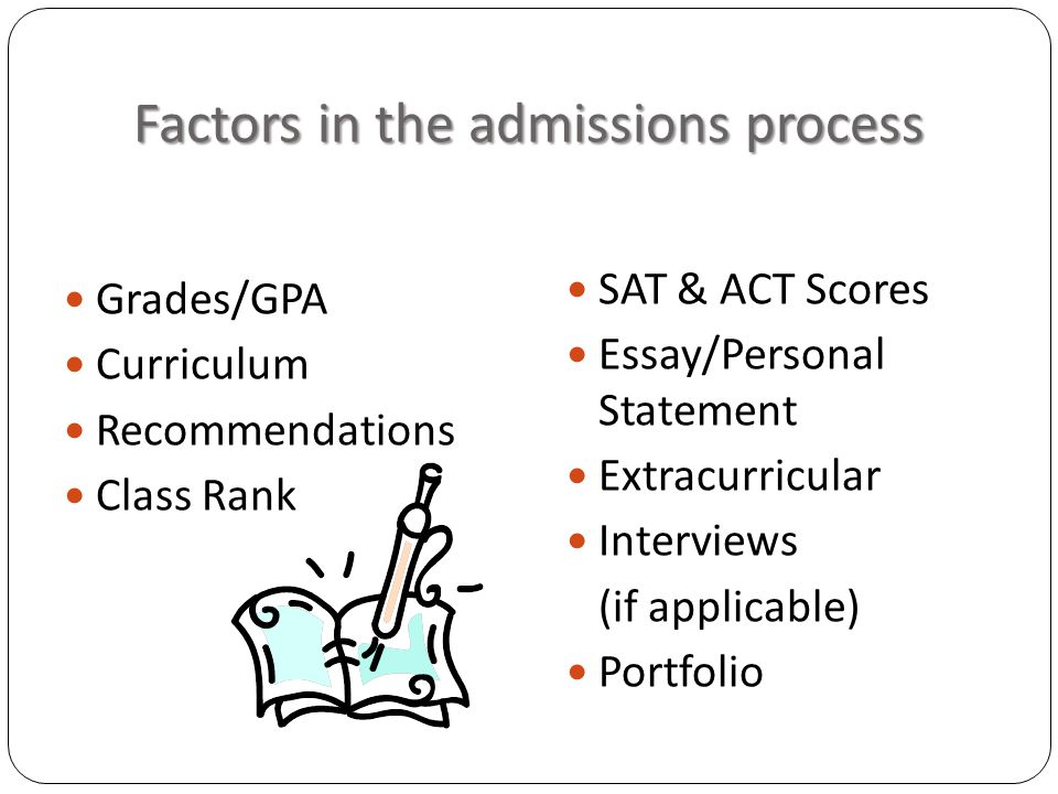 Factors in the admissions process Grades/GPA Curriculum Recommendations Class Rank SAT & ACT Scores Essay/Personal Statement Extracurricular Interviews (if applicable) Portfolio