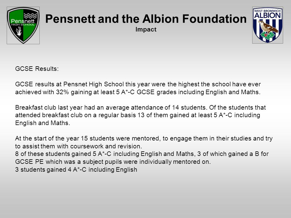 Pensnett and the Albion Foundation Impact GCSE Results: GCSE results at Pensnet High School this year were the highest the school have ever achieved with 32% gaining at least 5 A*-C GCSE grades including English and Maths.
