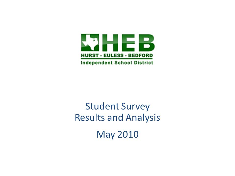 Overview HEB ISD Students in grades 6 through 12 were invited to respond the Student Survey during May 2010.