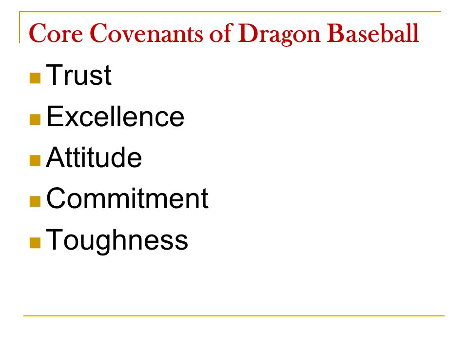 Core Covenants of Dragon Baseball Trust Excellence Attitude Commitment Toughness