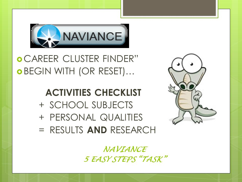  CAREER CLUSTER FINDER  BEGIN WITH (OR RESET)… ACTIVITIES CHECKLIST + SCHOOL SUBJECTS + PERSONAL QUALITIES = RESULTS AND RESEARCH NAVIANCE 5 EASY STEPS TASK