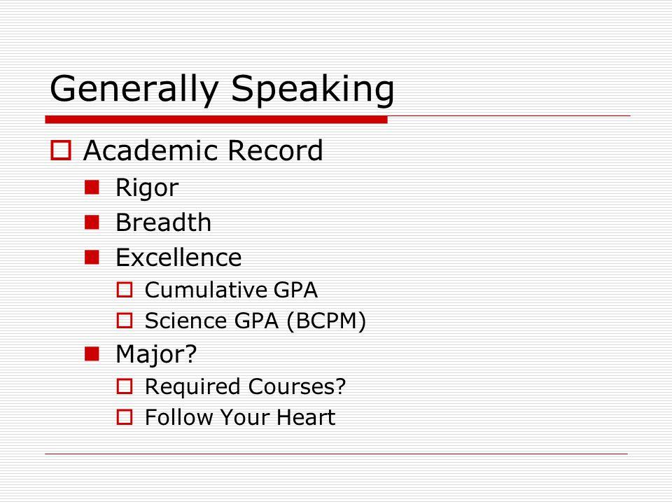 Generally Speaking  Standardized Test MCAT When.How Many Times.