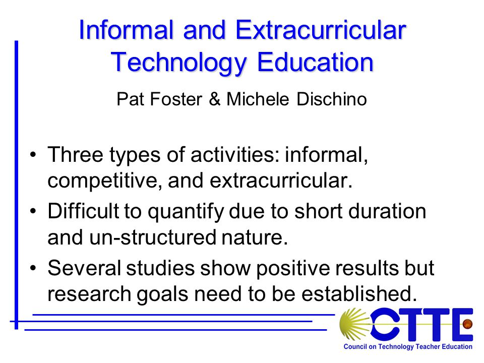 Informal and Extracurricular Technology Education Pat Foster & Michele Dischino Three types of activities: informal, competitive, and extracurricular.