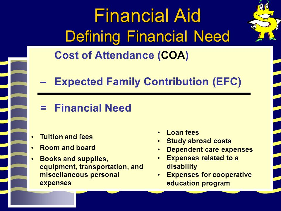Cost of Attendance (COA) – Expected Family Contribution (EFC) = Financial Need Tuition and fees Room and board Books and supplies, equipment, transpor