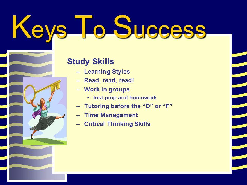 Study Skills –Learning Styles –Read, read, read.