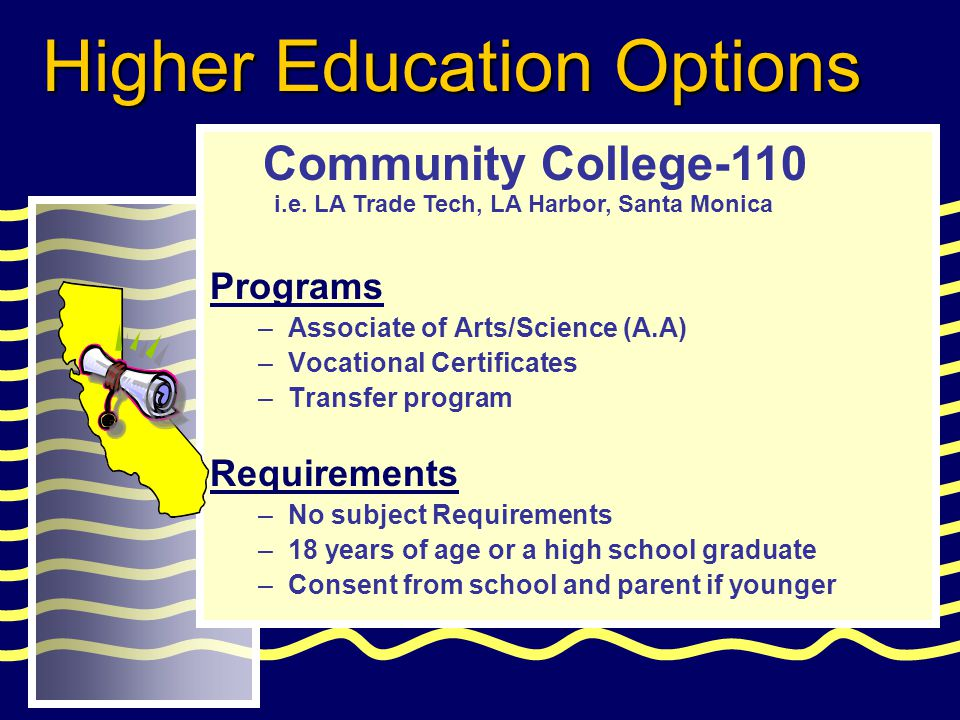 Programs –Associate of Arts/Science (A.A) –Vocational Certificates –Transfer program Requirements –No subject Requirements –18 years of age or a high school graduate –Consent from school and parent if younger Community College-110 Higher Education Options i.e.