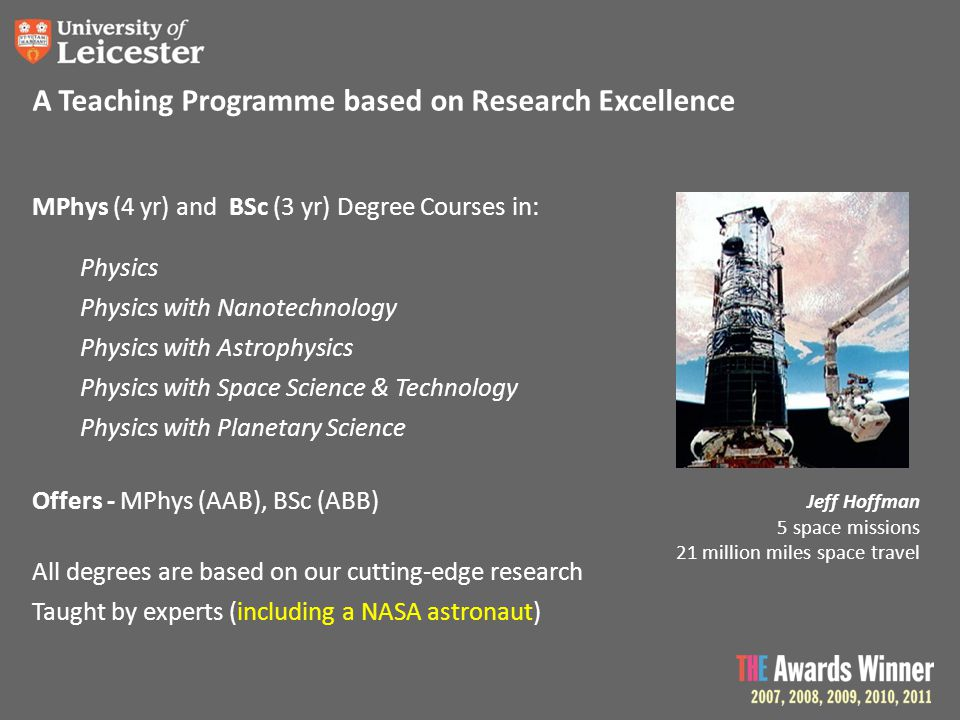 MPhys (4 yr) and BSc (3 yr) Degree Courses in: Physics Physics with Nanotechnology Physics with Astrophysics Physics with Space Science & Technology P