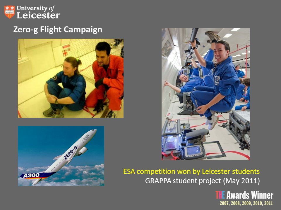 Zero-g Flight Campaign ESA competition won by Leicester students GRAPPA student project (May 2011)