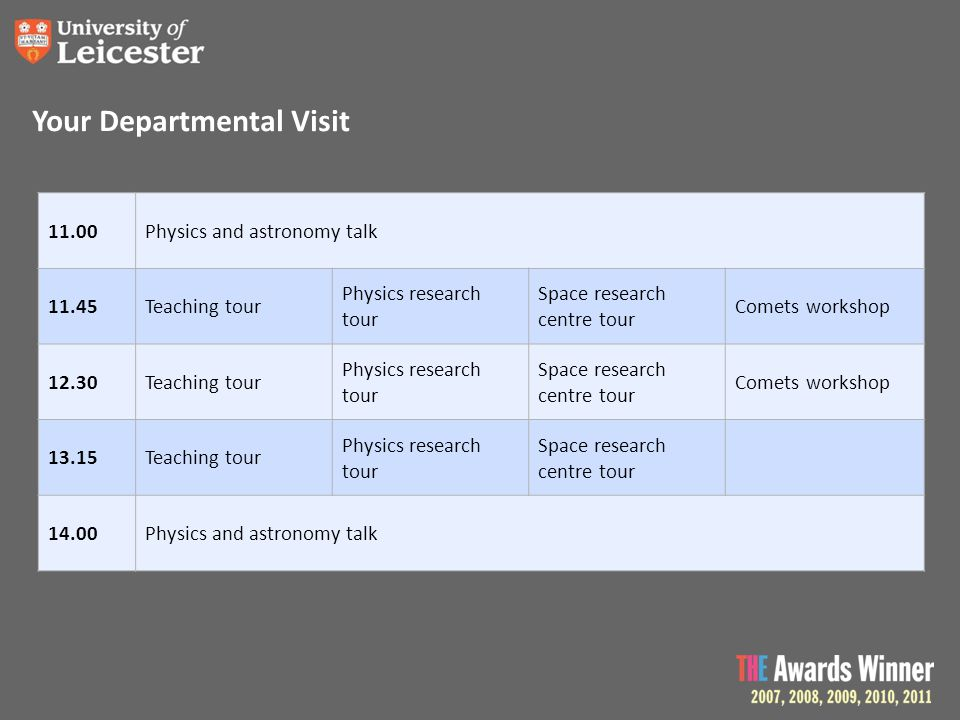 Your Departmental Visit 11.00Physics and astronomy talk 11.45Teaching tour Physics research tour Space research centre tour Comets workshop 12.30Teach