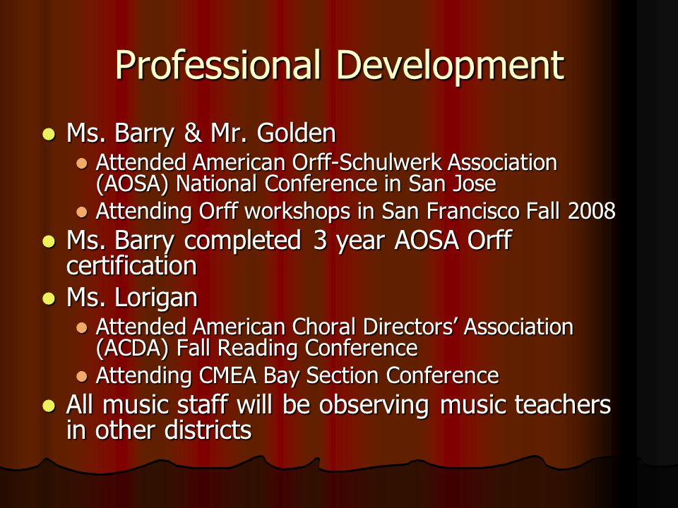 Professional Development Ms. Barry & Mr. Golden Ms.