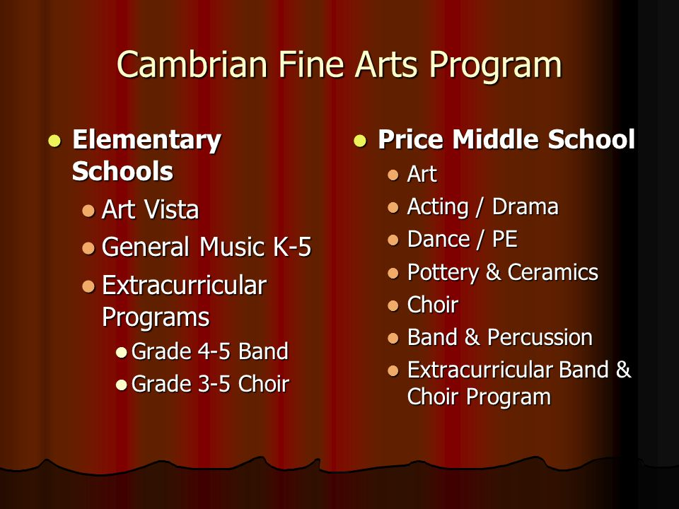 Cambrian Fine Arts Program Elementary Schools Elementary Schools Art Vista Art Vista General Music K-5 General Music K-5 Extracurricular Programs Extracurricular Programs Grade 4-5 Band Grade 4-5 Band Grade 3-5 Choir Grade 3-5 Choir Price Middle School Price Middle School Art Acting / Drama Dance / PE Pottery & Ceramics Choir Band & Percussion Extracurricular Band & Choir Program