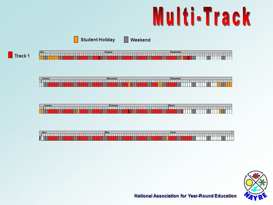 National Association for Year-Round Education Track 1 Student Holiday Weekend