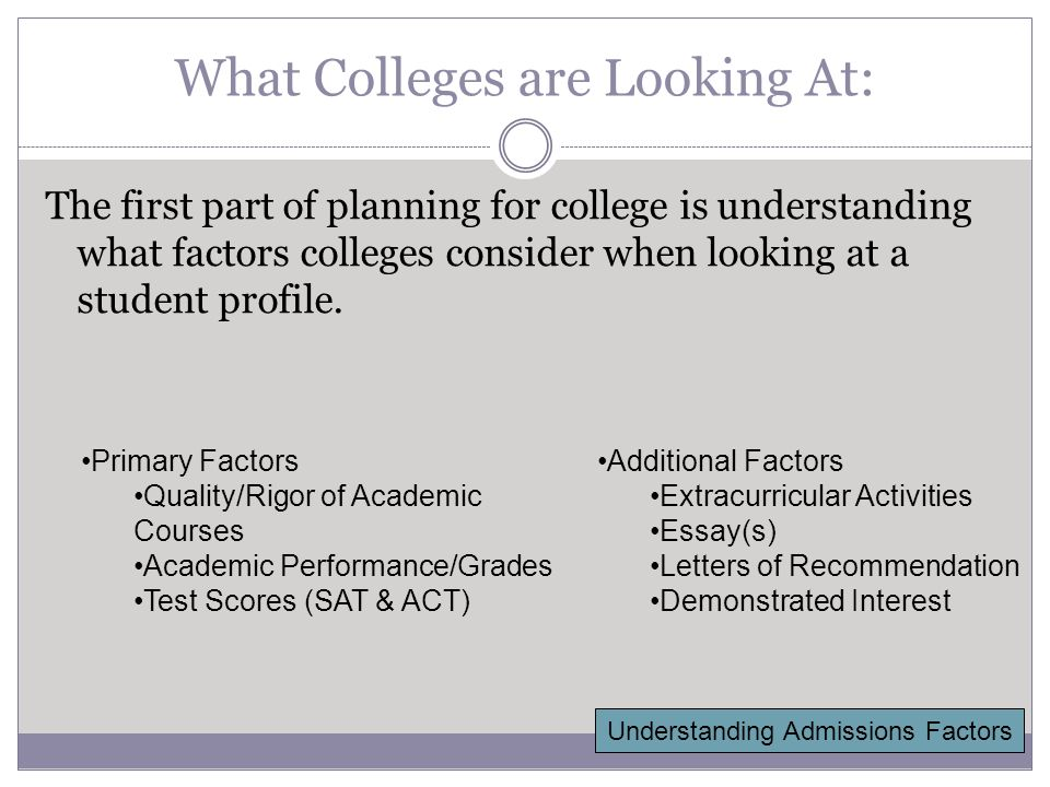 Grades & Course Work Your high school academic record is one of the most important factors in college admissions.