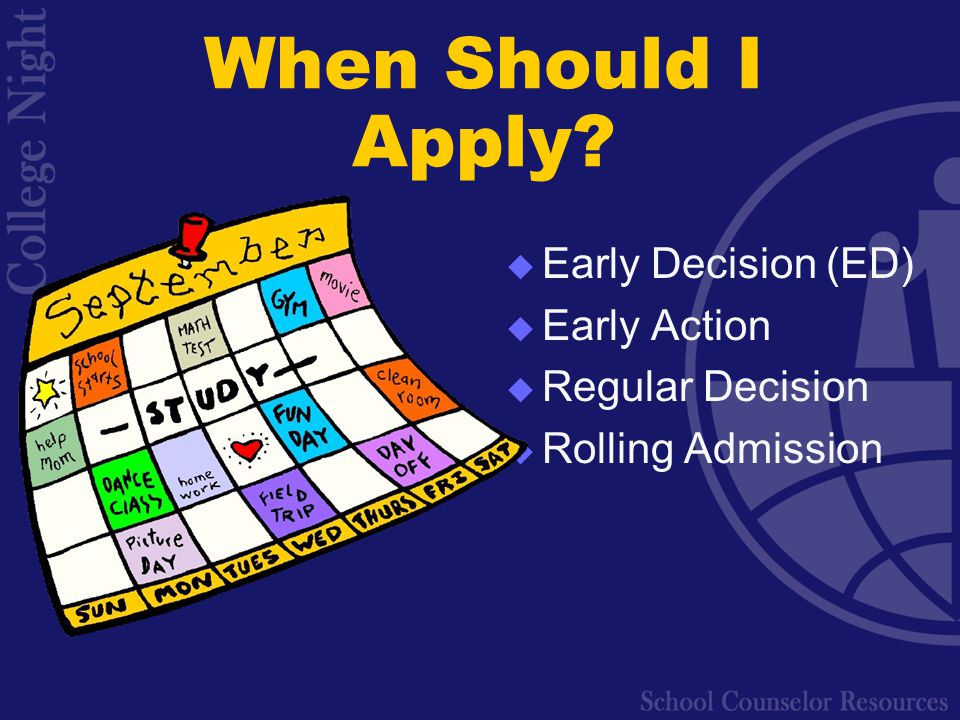When Should I Apply  Early Decision (ED)  Early Action  Regular Decision  Rolling Admission