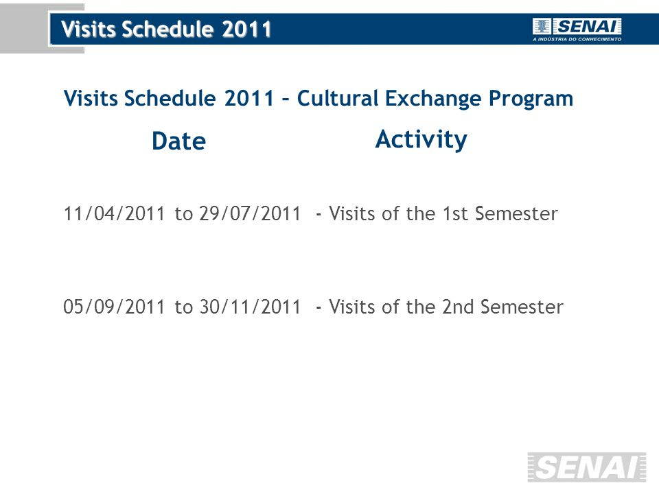 Visits Schedule 2011 Date Activity 11/04/2011 to 29/07/2011- Visits of the 1st Semester 05/09/2011 to 30/11/2011- Visits of the 2nd Semester Visits Schedule 2011 – Cultural Exchange Program