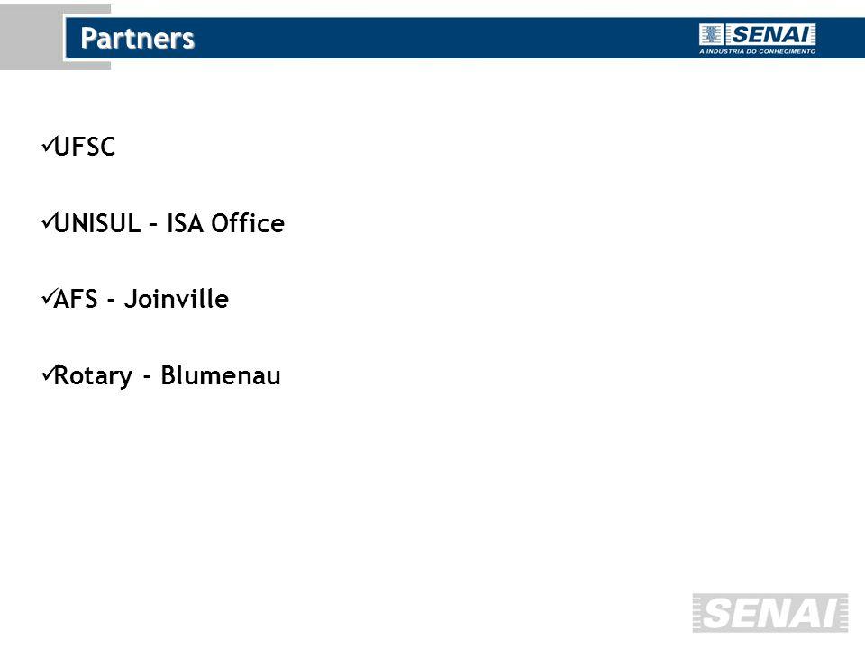 Partners UFSC UNISUL – ISA Office AFS - Joinville Rotary - Blumenau