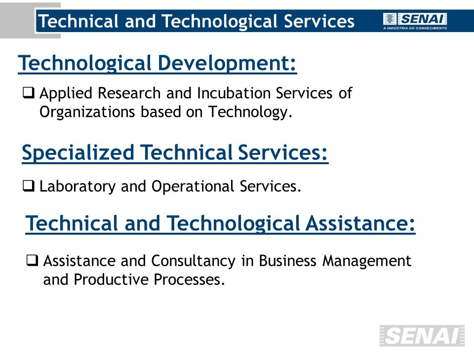  Applied Research and Incubation Services of Organizations based on Technology.