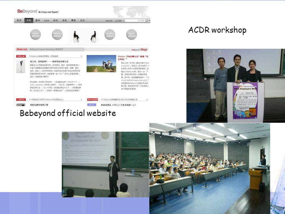 Bebeyond official website ACDR workshop