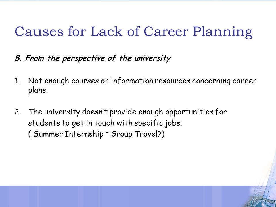 Causes for Lack of Career Planning B.