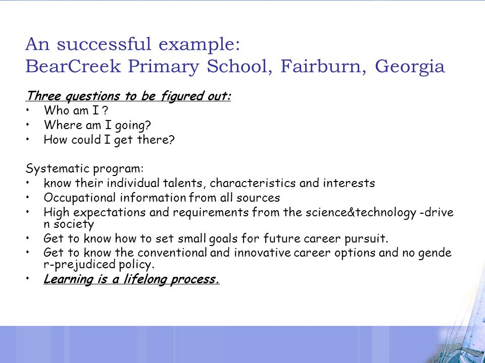 An successful example: BearCreek Primary School, Fairburn, Georgia Three questions to be figured out: Who am I ? Where am I going.
