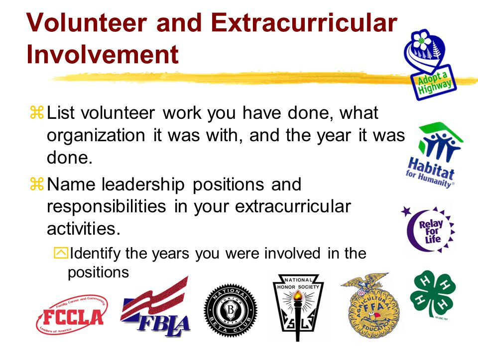 Volunteer and Extracurricular Involvement  List volunteer work you have done, what organization it was with, and the year it was done.