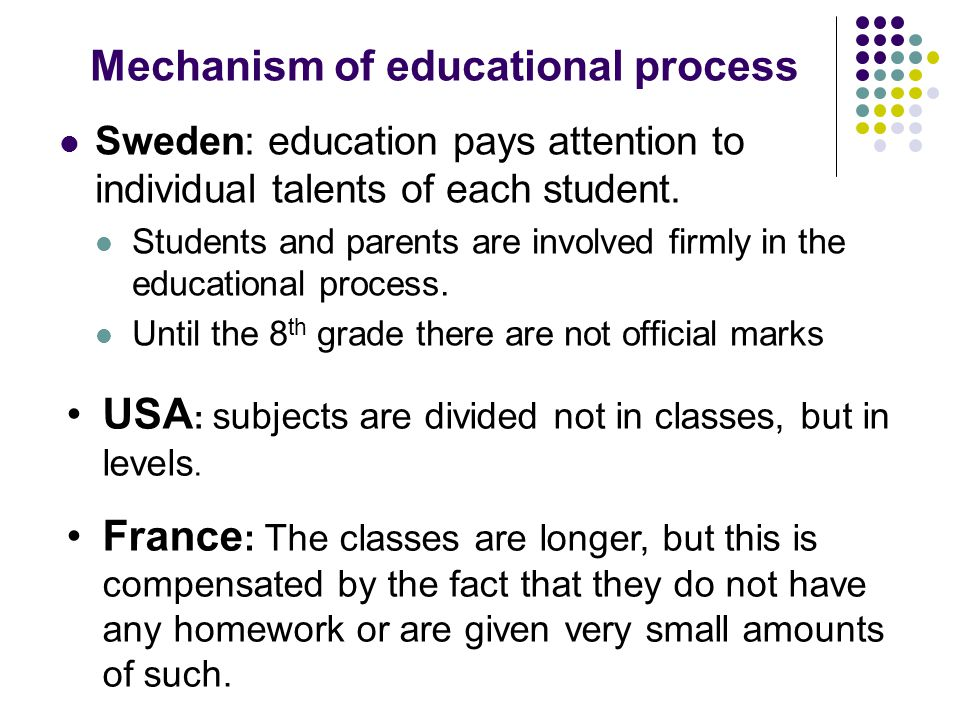 Mechanism of educational process Sweden: education pays attention to individual talents of each student.