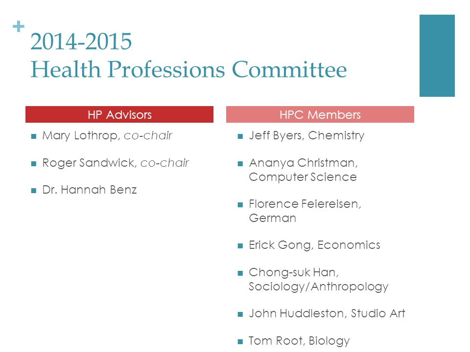 + 2014-2015 Health Professions Committee Mary Lothrop, co-chair Roger Sandwick, co-chair Dr.